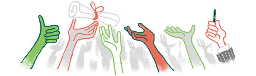 illustration of the extended hands of a crowd of people, reaching for a scrolled document. One hand holds a pen.