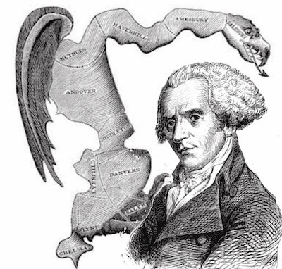 The original gerrymander, from an 1812 political cartoon.