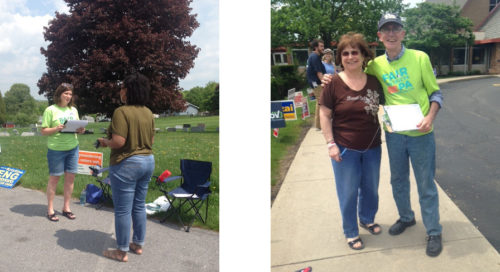 Left: Centre County talking with voter and Right: Rep. Turzai's district ran out of petitions voters were eager to sign