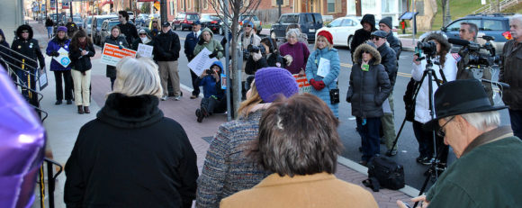 A crowd gathers in front of the Clinton County Courthouse. (Courtesy Sarah Smeltz/The Express)