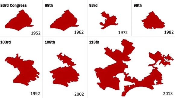 PA's 7th Congressional District over time. (Source: Shapefiles maintained by Jeffrey B. Lewis, Brandon DeVine, Lincoln Pritcher, and Kenneth C. Martis, UCLA. Drawn to scale. Graphic: The Washington Post, May 20, 2014)