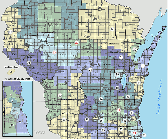 Wisconsin Federal Court Accepts New Gerrymander Fair Districts PA - Us district court areas map