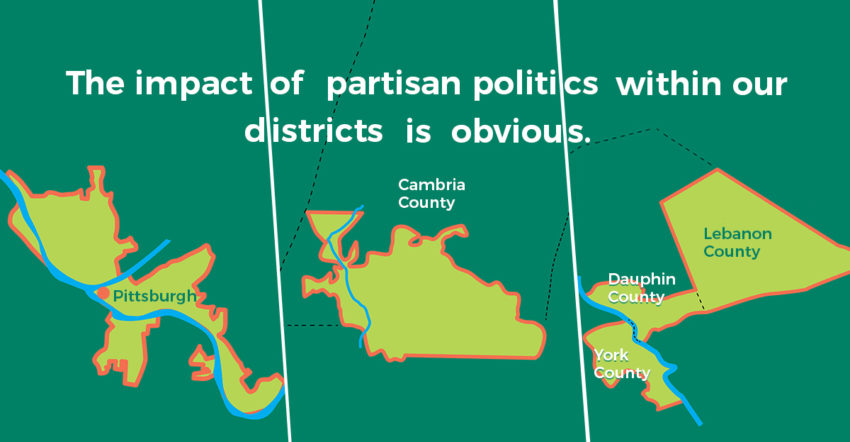 A map of gerrymandered districts in PA.